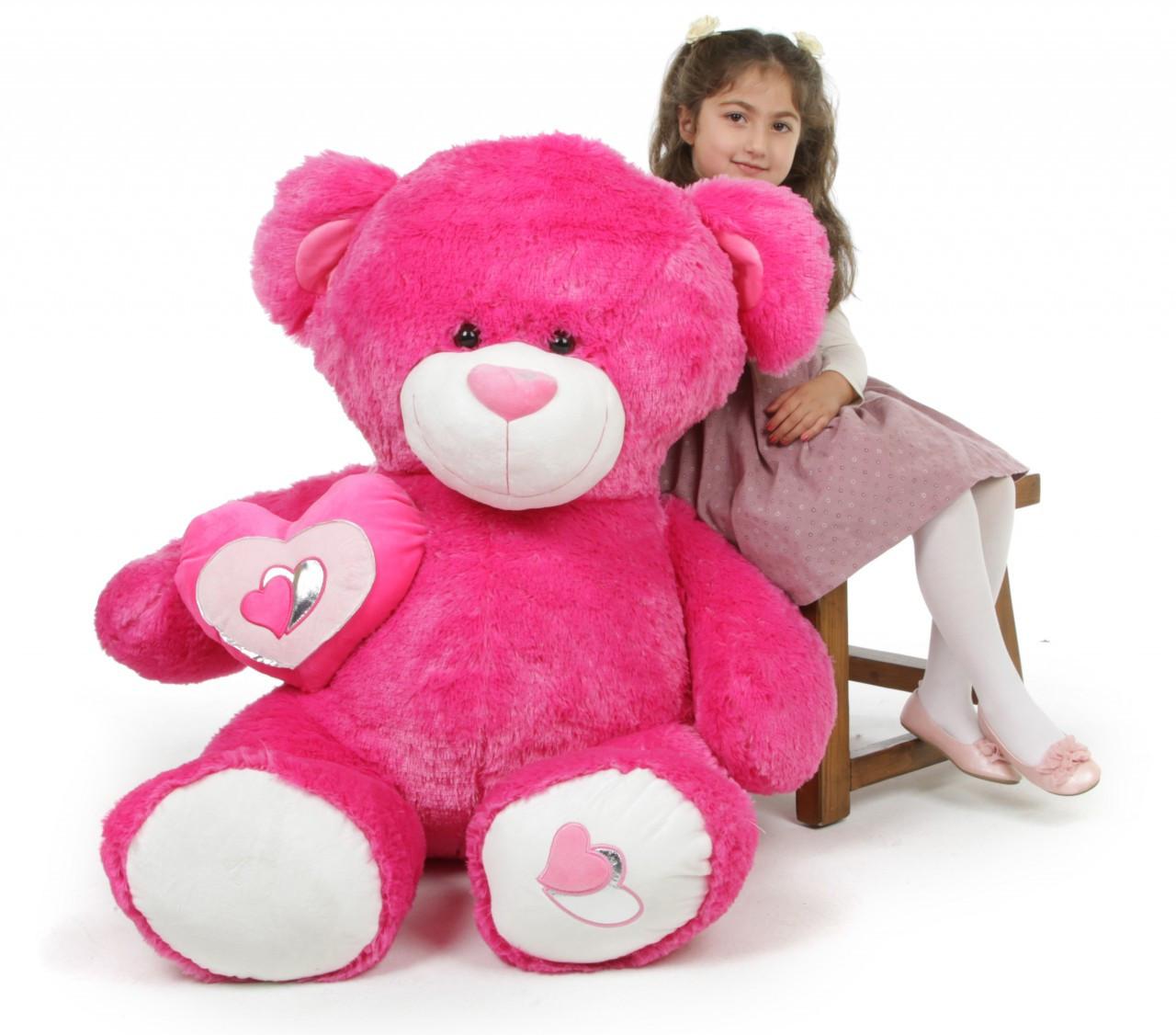 ChaCha Big Love Irresistible Huge Hot Pink Teddy Bear 47 in
