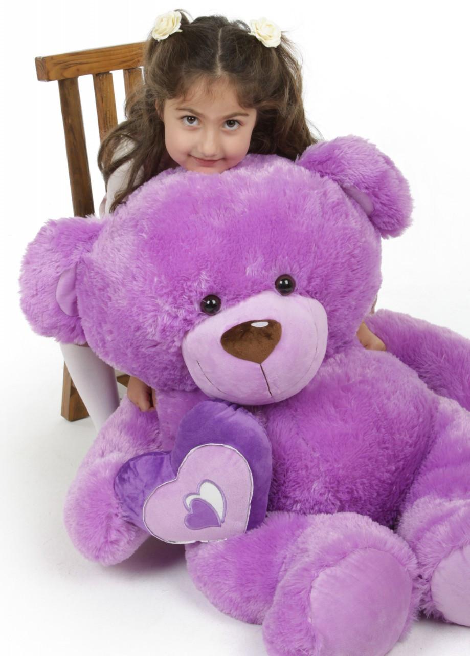 Sewsie Big Love lavender teddy bear 42in