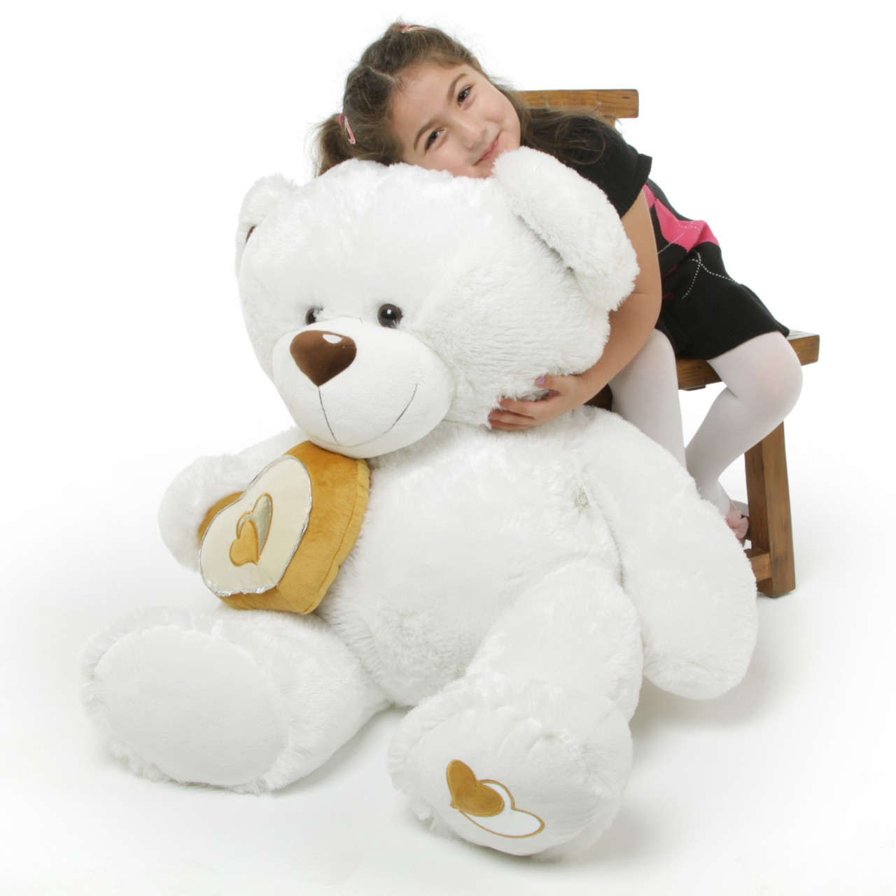 Chomps Big Love Large White Silver Heart Teddy Bear 42 in