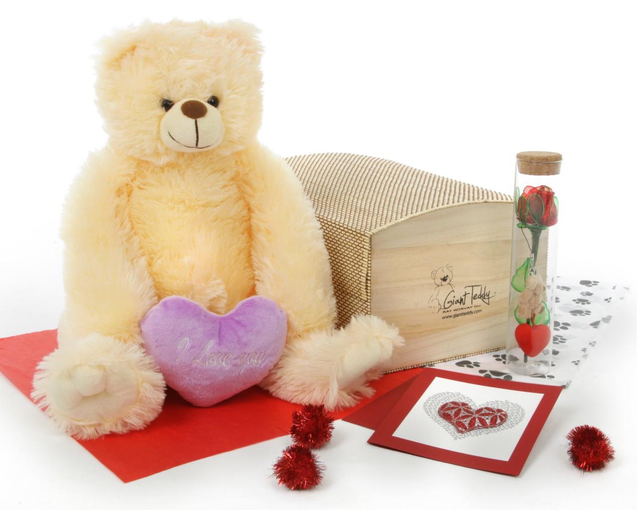 Cream Teddy Bear Hug Care Package 18in