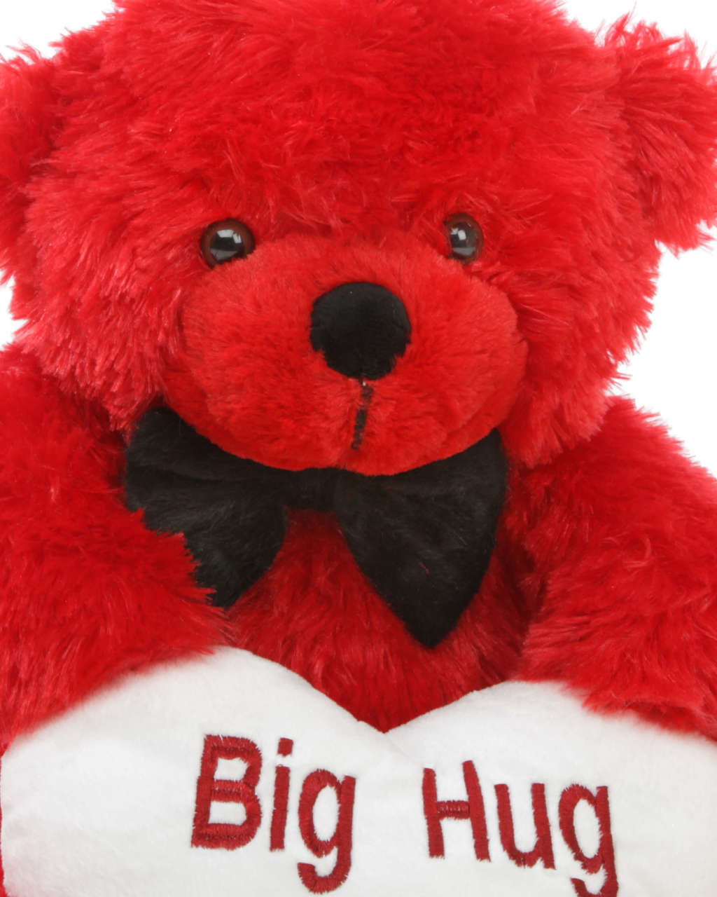 Red Teddy with White Big Hug Heart Close up