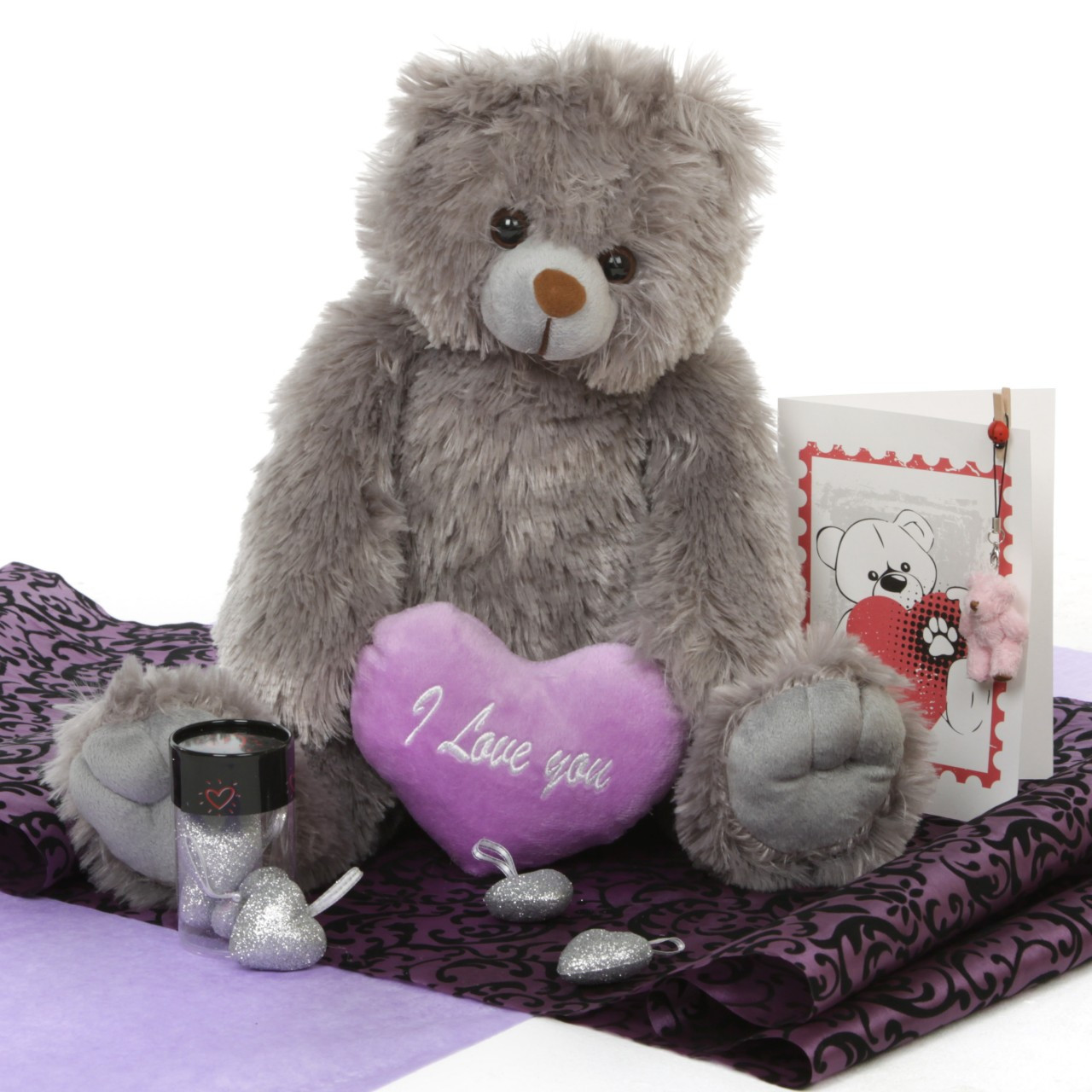 Grey Teddy Bear 18in Gimme Some Lovin Hug Care Package