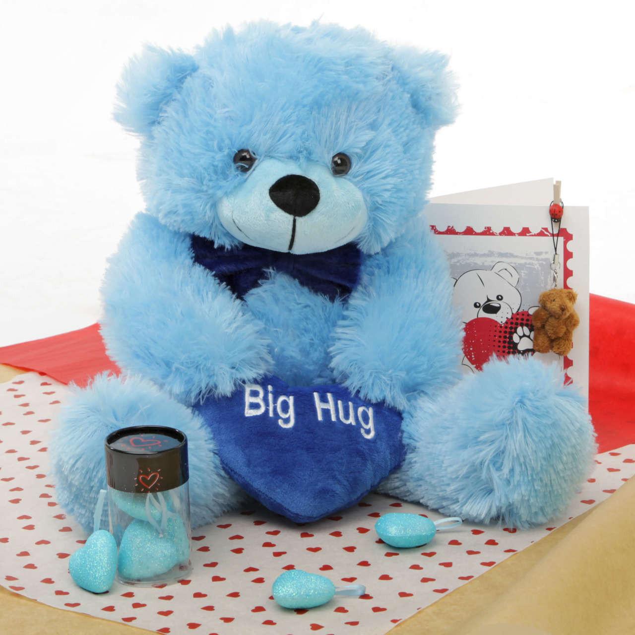 He Loves Me Blue Teddy Bear Hug Care Package 18in
