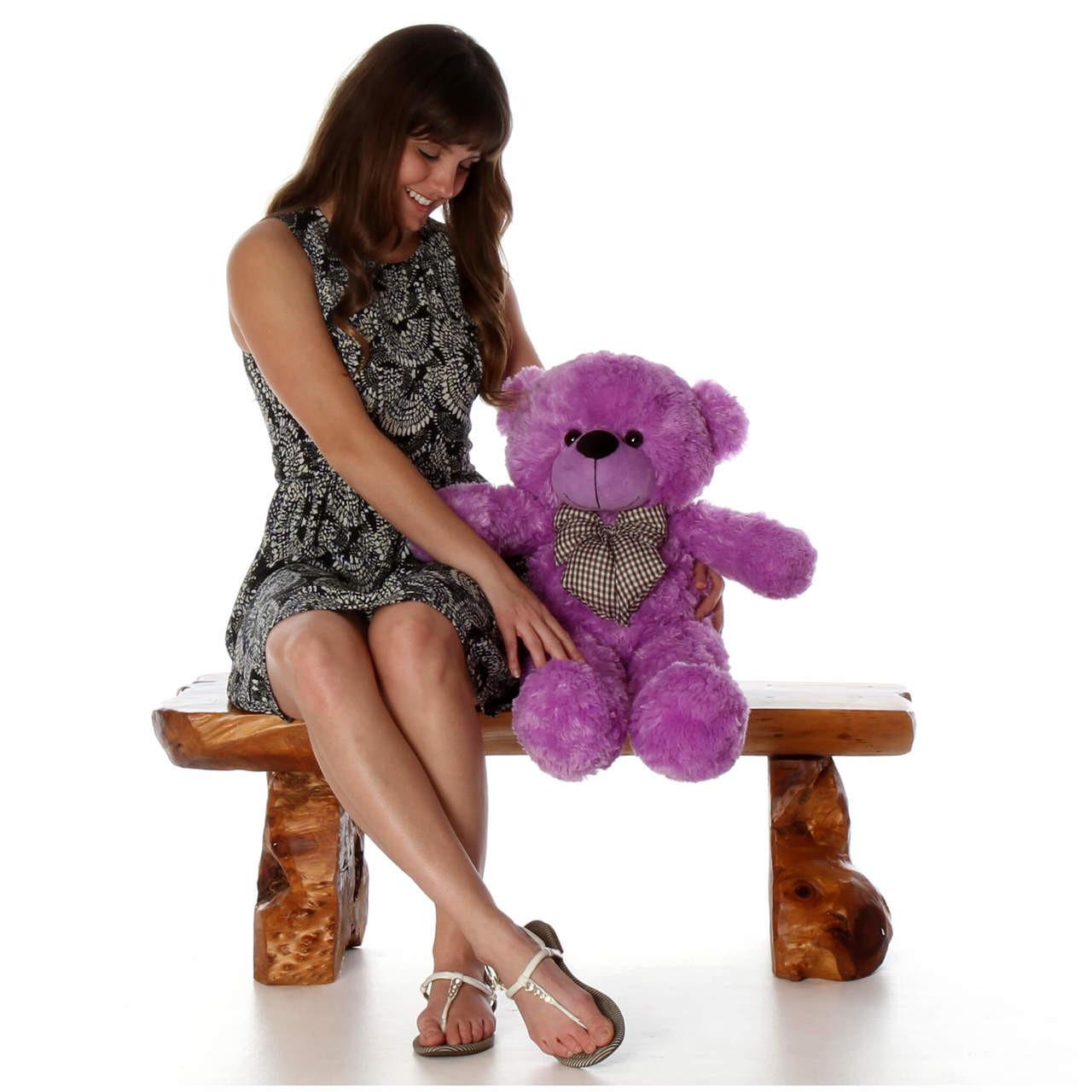 DeeDee Cuddles Adorable Lavender Purple Plush Teddy Bear 30 inch