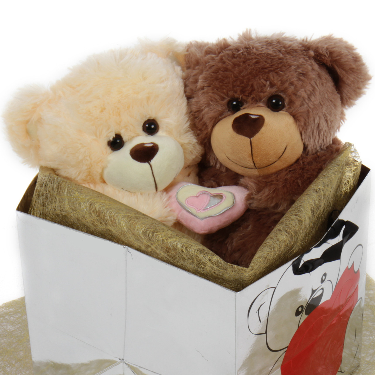 18in Cream & Mocha Big Love Teddy Bear Package