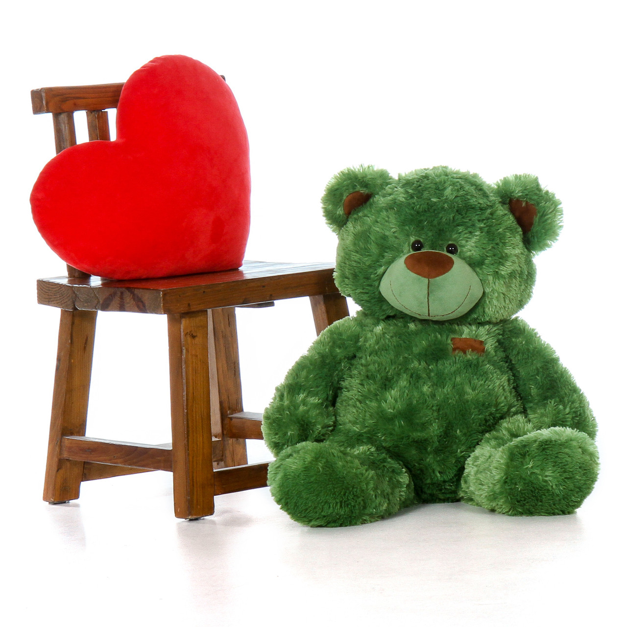 Big Green Teddy Bear in Sitting Position