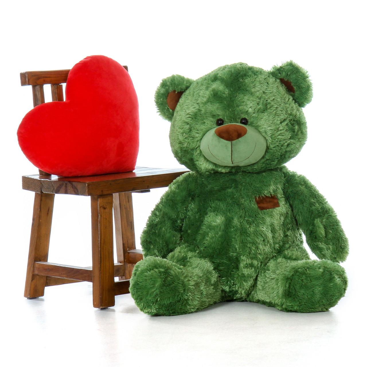 35 Inch Green Sitting Position Big Teddy Bear