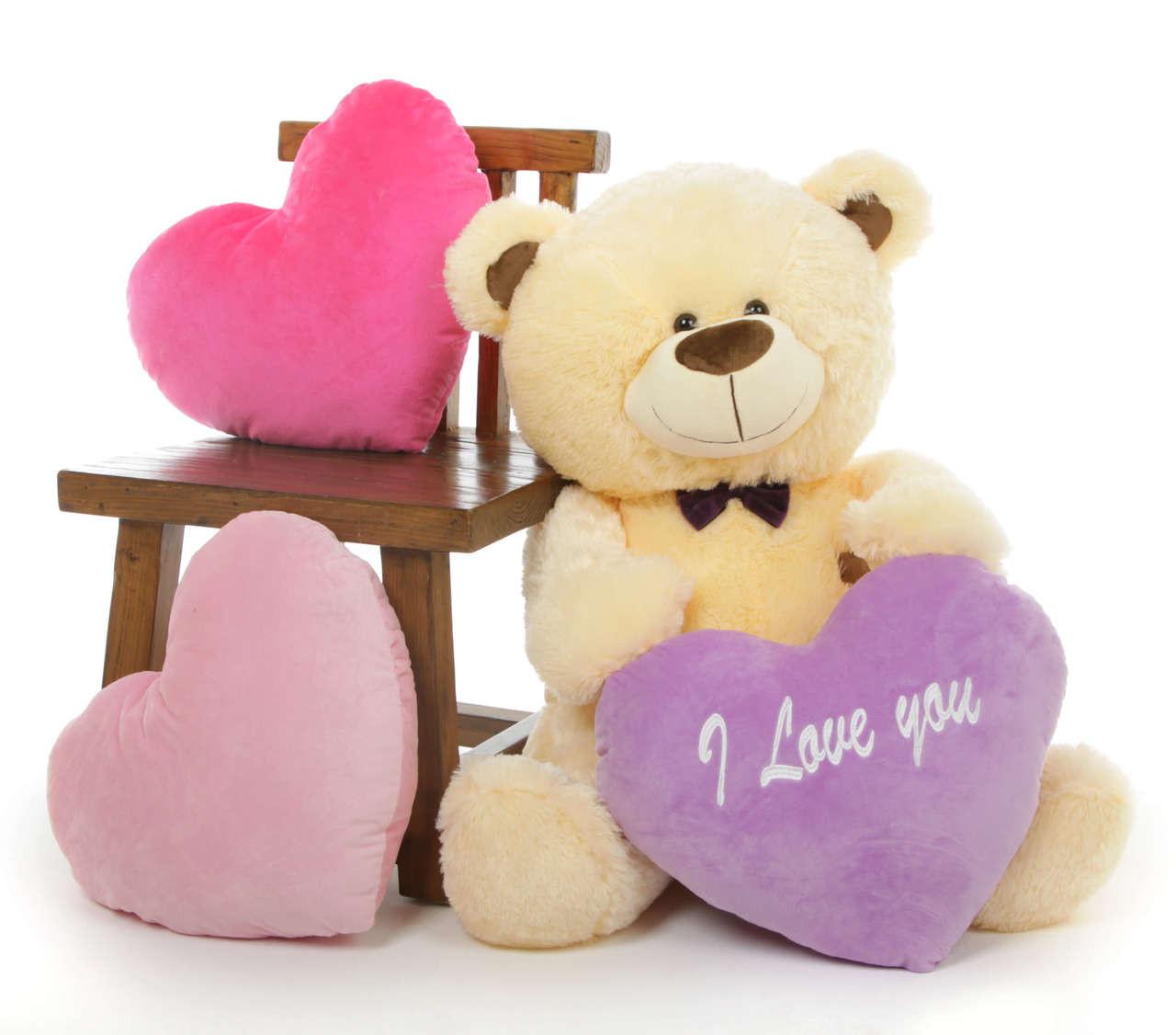 Cream BooBoo Shags Teddy Bear with Purple I Love You Heart