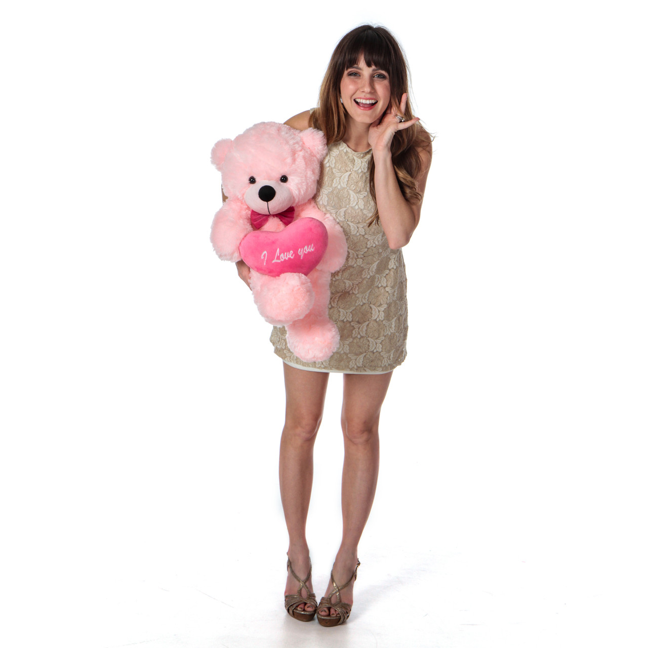 Giant Teddy Brand Premium Quality Pink Teddy Bear with Pink I Love You Heart