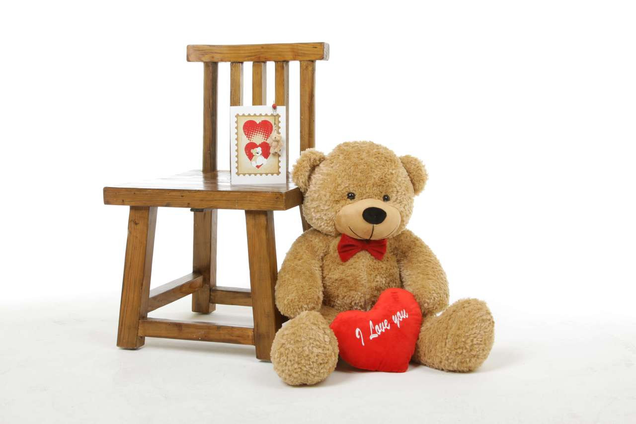 30in Shaggy L Cuddles Amber Teddy Bear with I Love You Heart