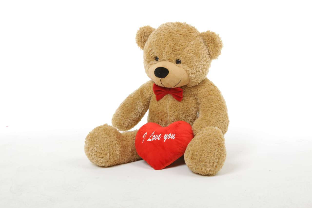 Shaggy L Cuddles Amber Teddy Bear with I Love You Heart 30in