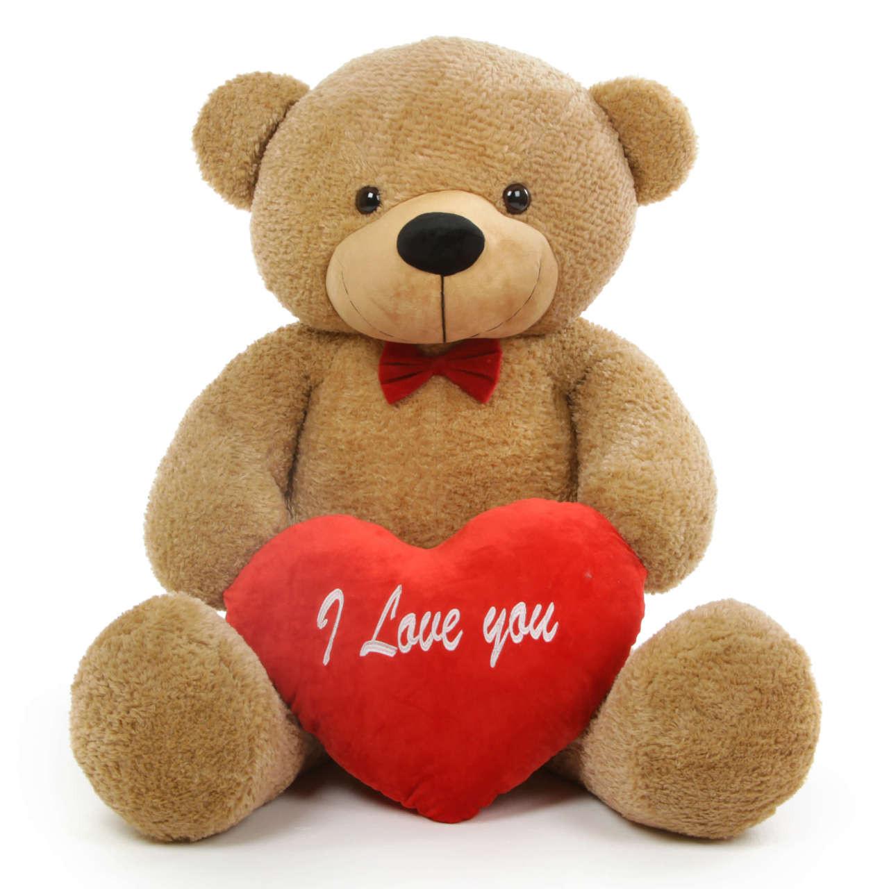 Shaggy L Cuddles 48 Amber Teddy Bear W I Love You Heart Giant