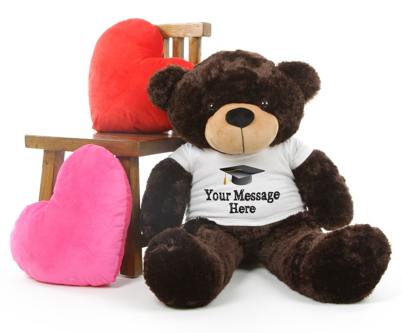 38in Huge Chocolate Teddy Bear Brownie Cuddles with Graduation T-shirt