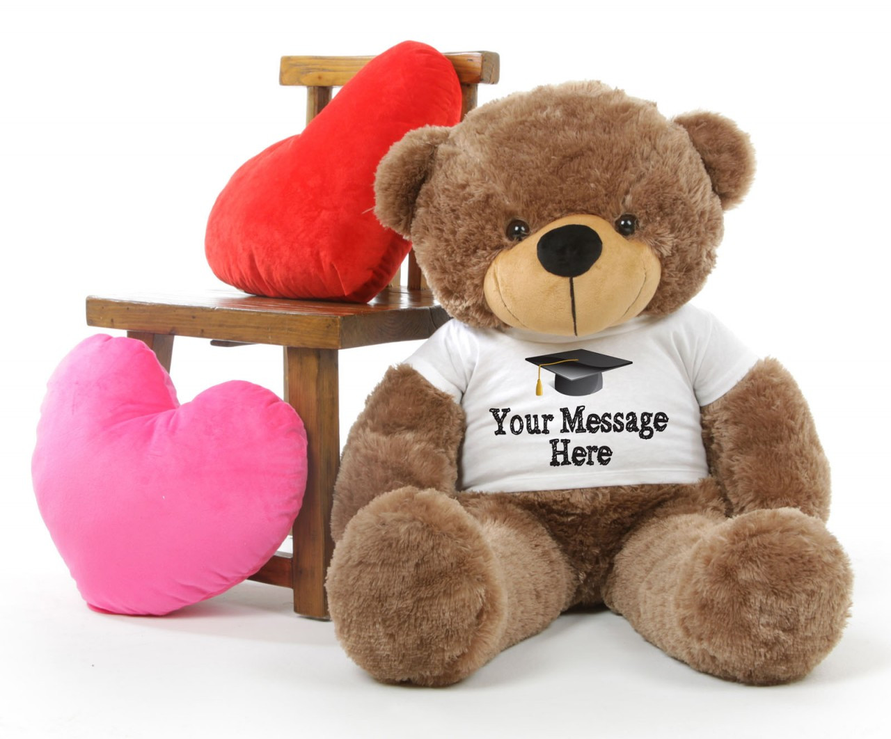 3ft Mocha Brown Big Teddy Bear with Graduation T-Shirt