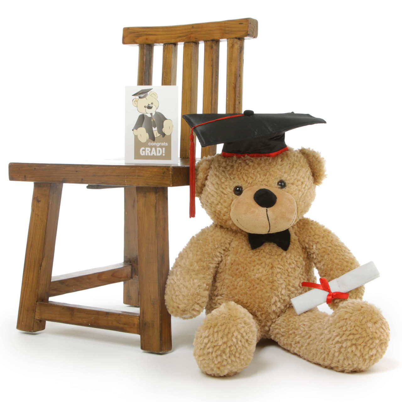 2ft Amber Graduation Teddy Bear with Cap and Diploma