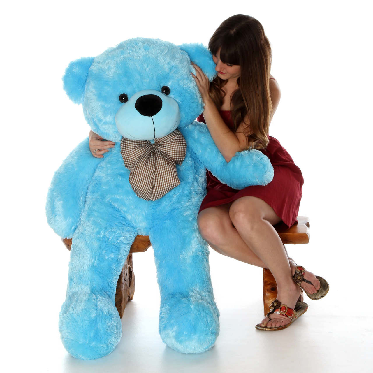 4ft Amazing Life Size Blue Teddy Bear Happy Cuddles