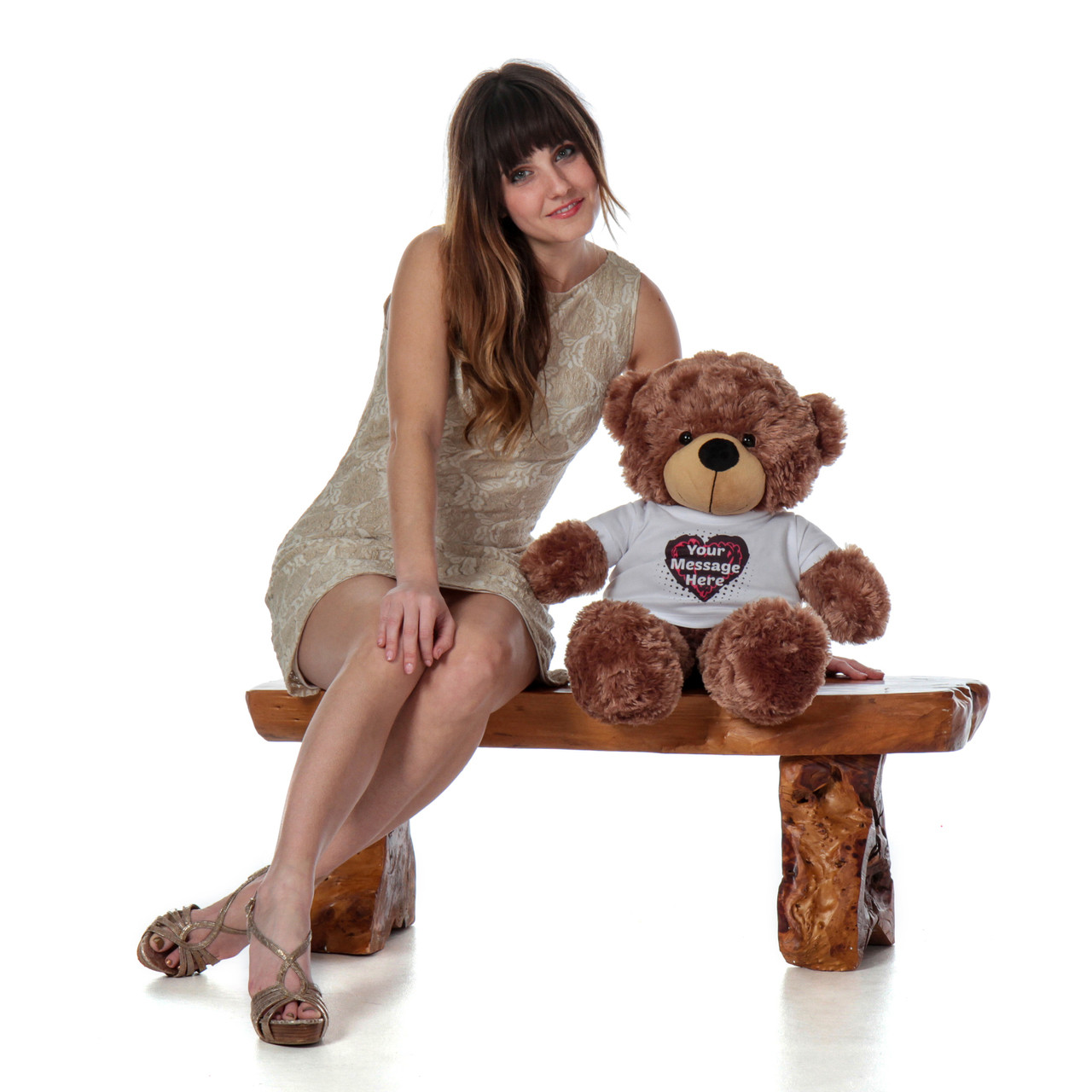 2 Foot Mocha Brown Super Soft Cute Teddy Bear with Personalized T-shirt