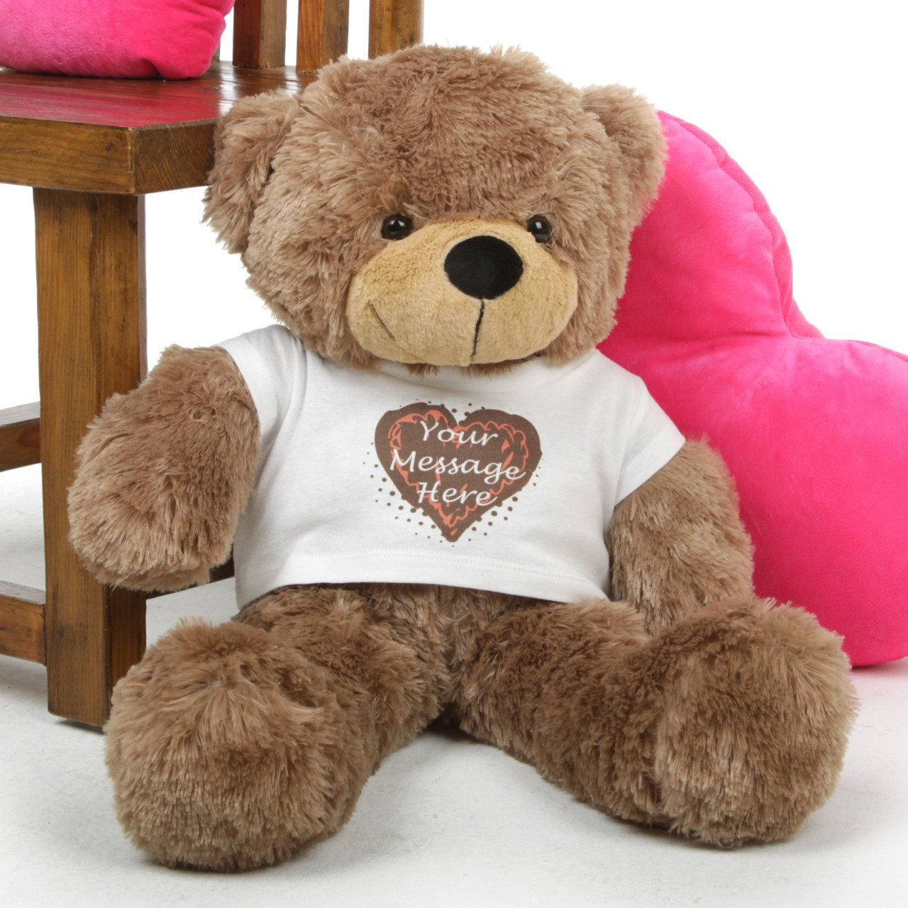 cded2b3f4b53 Mocha 30in Sunny Cuddles Personalized Teddy Bear With Heart Truffle ...