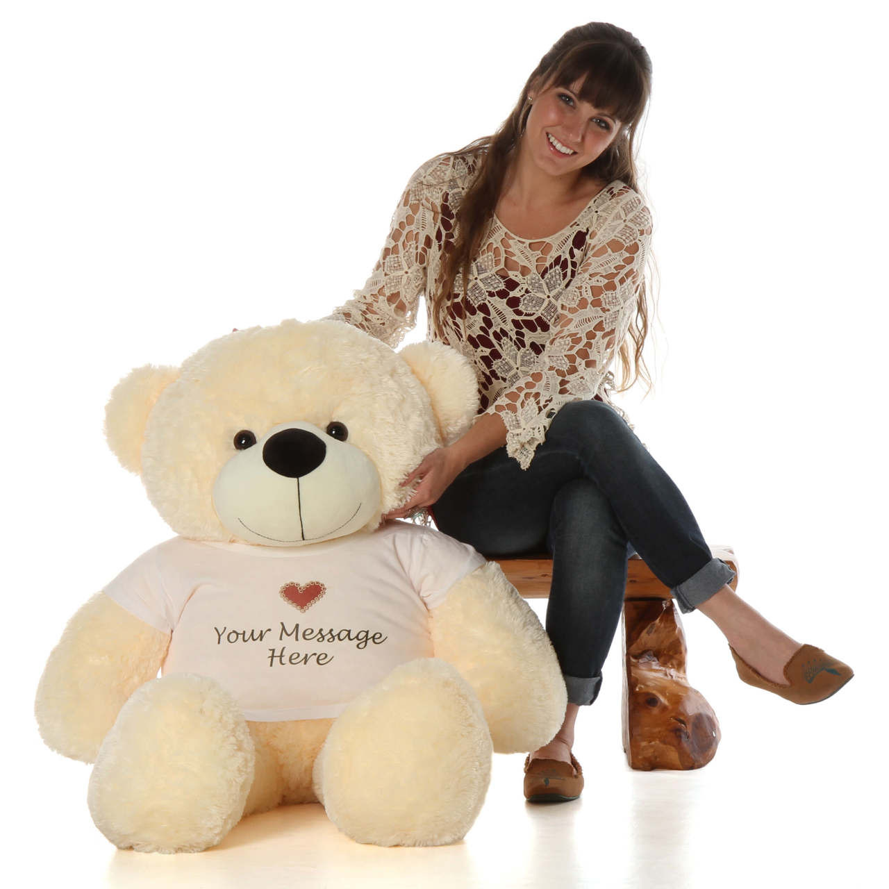 4 foot Teddy bear with adorable heart stamp t-shirt that you can cusomize