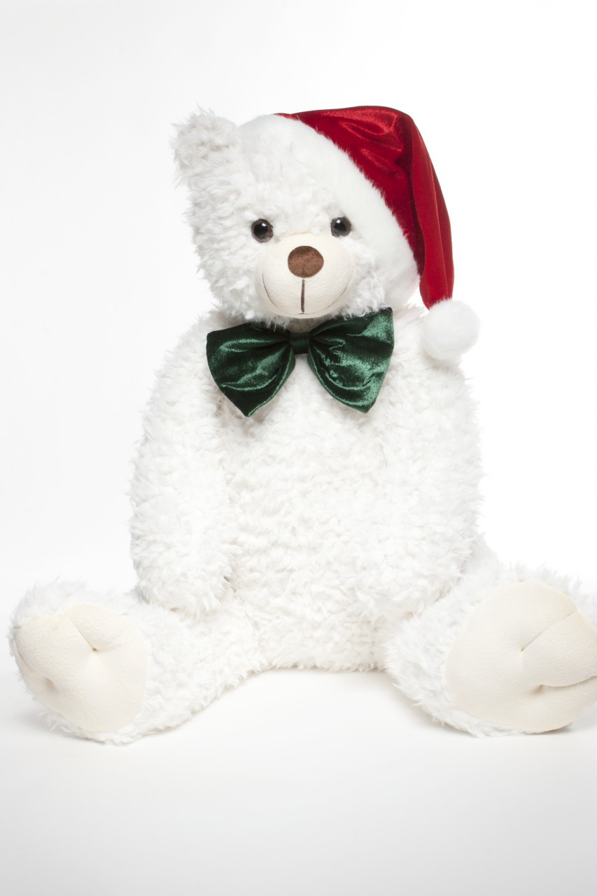 Christmas Edition Teddy Bear in White with Santa Clause Hat and Green Bow