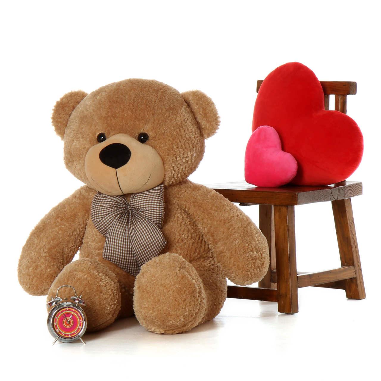 48in Shaggy Cuddles Amber Brown Teddy Bear