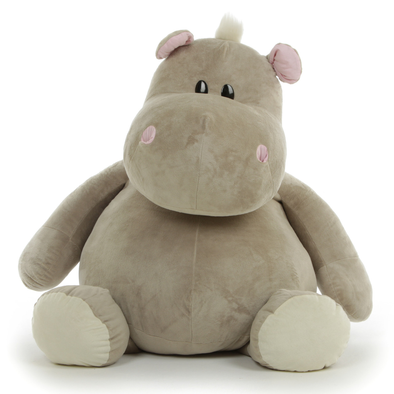 Buni, the mother of the Kubu stuffed hippo pod measures  43 inches (3' 7'') standing, 29 inches (2' 5'') sitting.