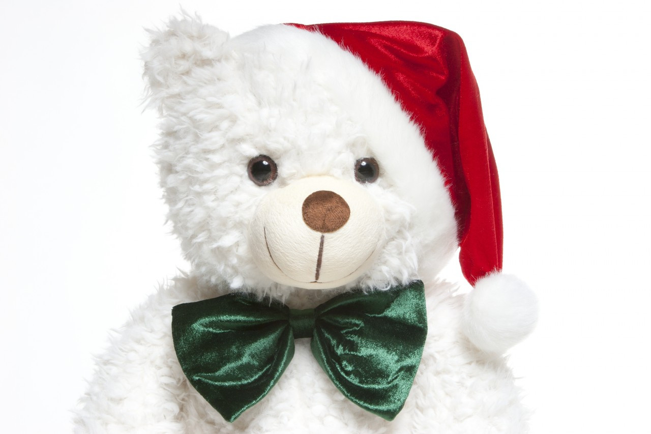 42 Inch White Christmas Teddy Bear with Santa Clause Hat