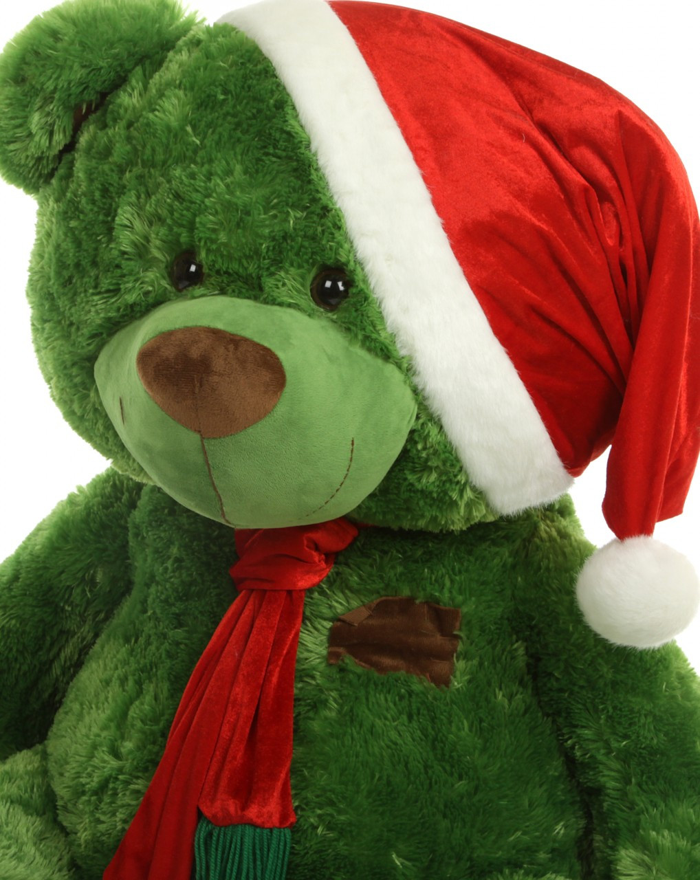 Adorable Green Christmas Teddy Bear with Red Scarf and Santa Hat