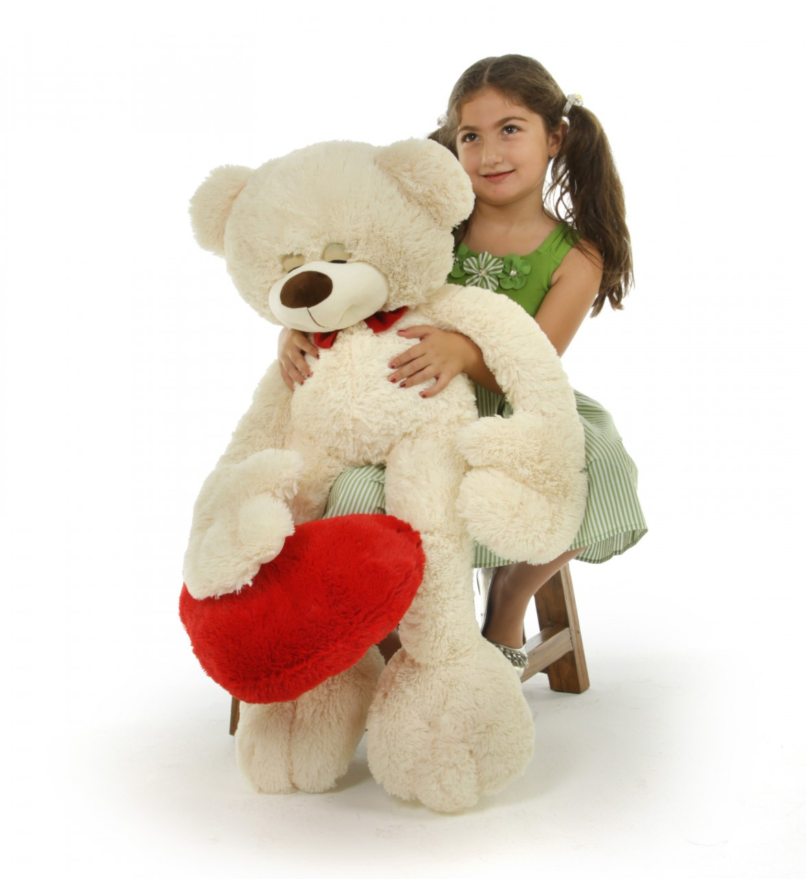 Super Cute Cream Teddy Bear with Red Heart