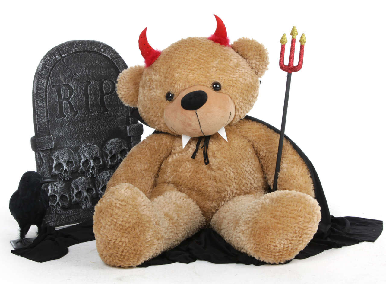 Shaggy Cuddles Giant Teddy Bear 38in is ready for Halloween wearing a red devil costume!