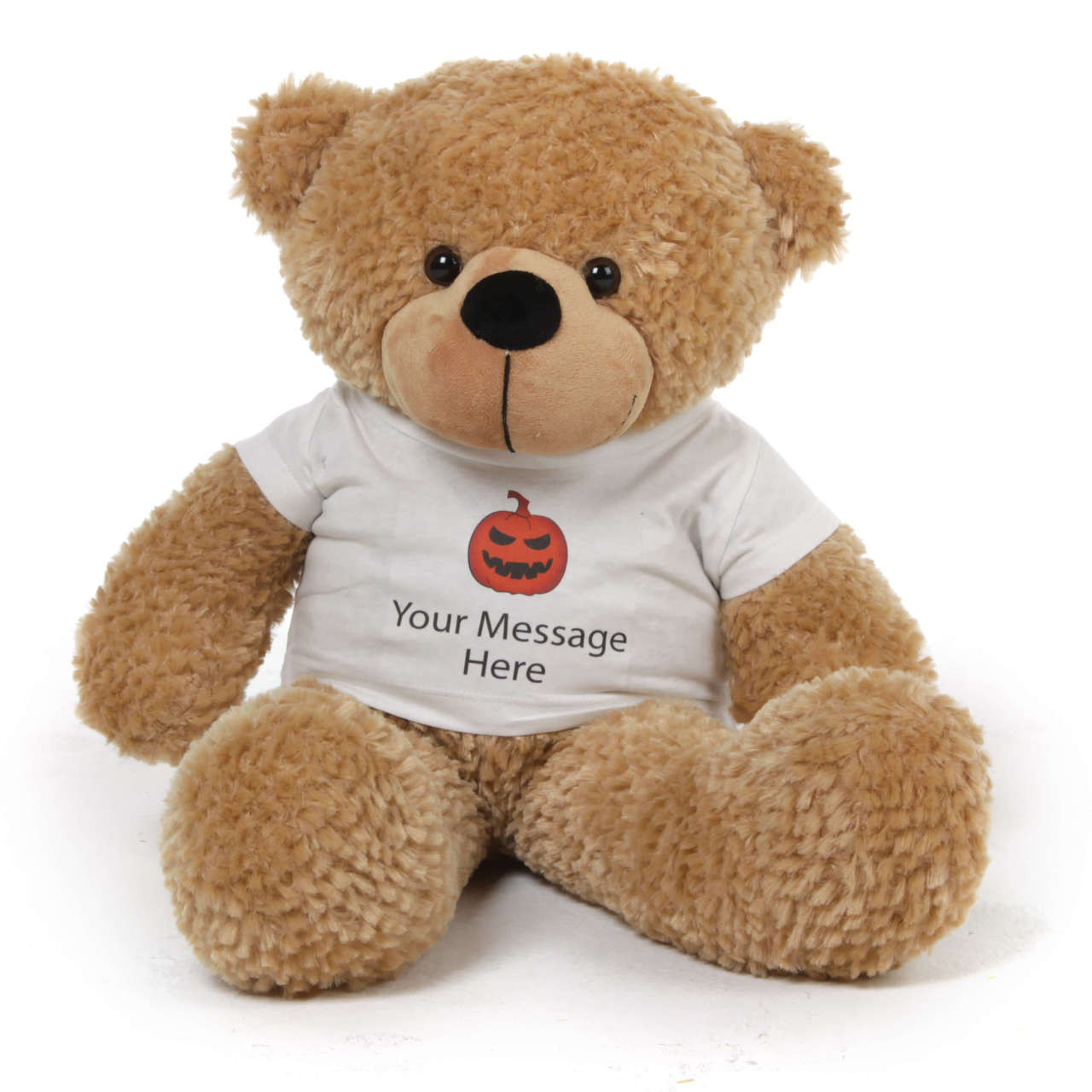 "Personalized Giant Halloween Teddy Bear 24"" Shaggy Cuddles wears your custom message on a Jack-o-lantern t-shirt"