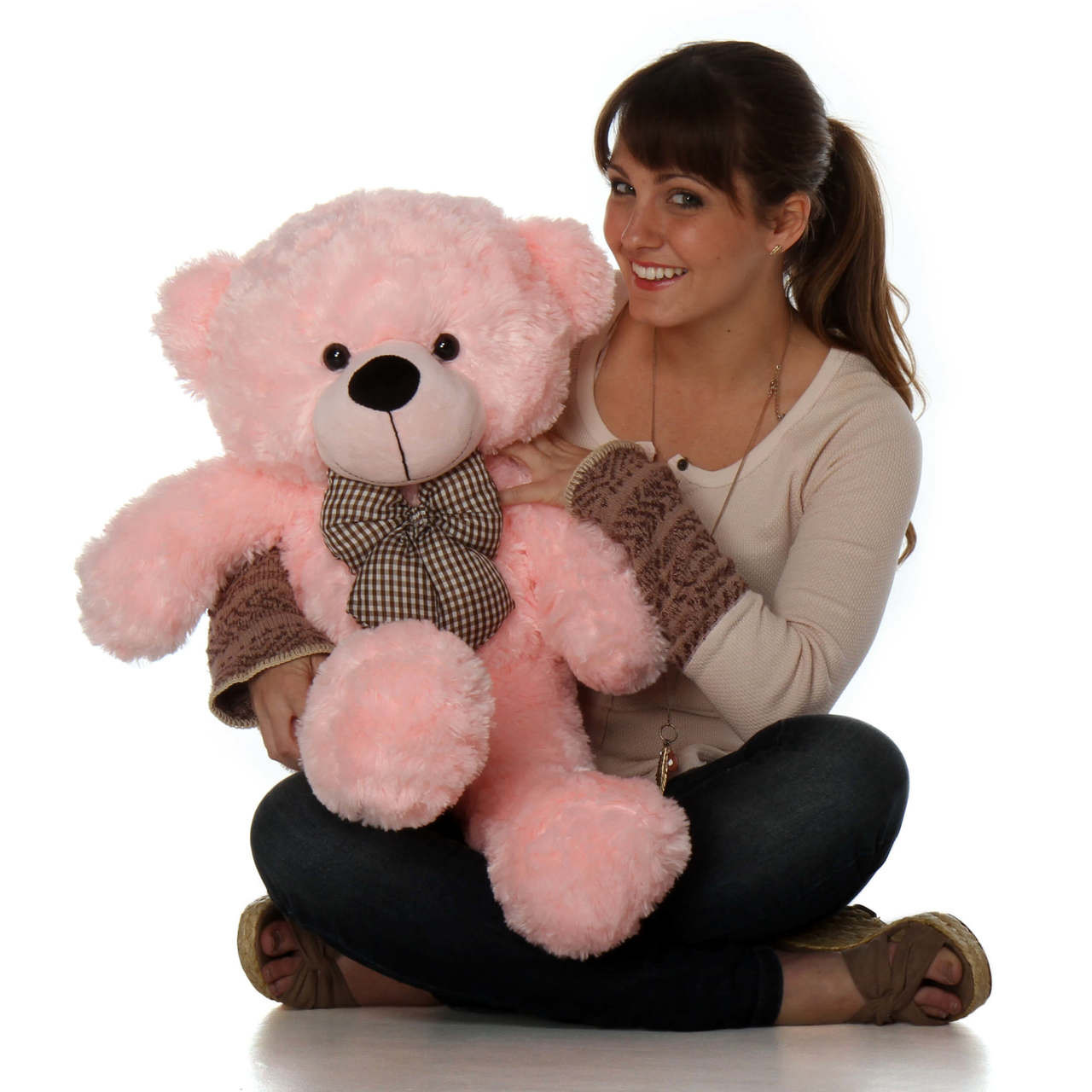 30IN LADY CUDDLES SOFT AND HUGGABLE PINK TEDDY BEAR