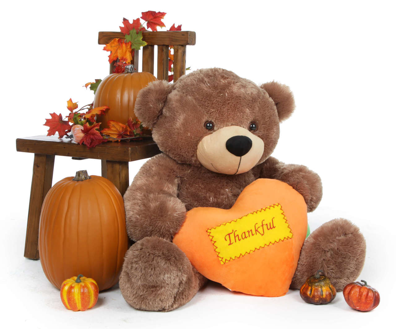 38 inch Sunny Cuddles sends a great Thanksgiving message with his plush orange Thankful heart, perfect for gifts.