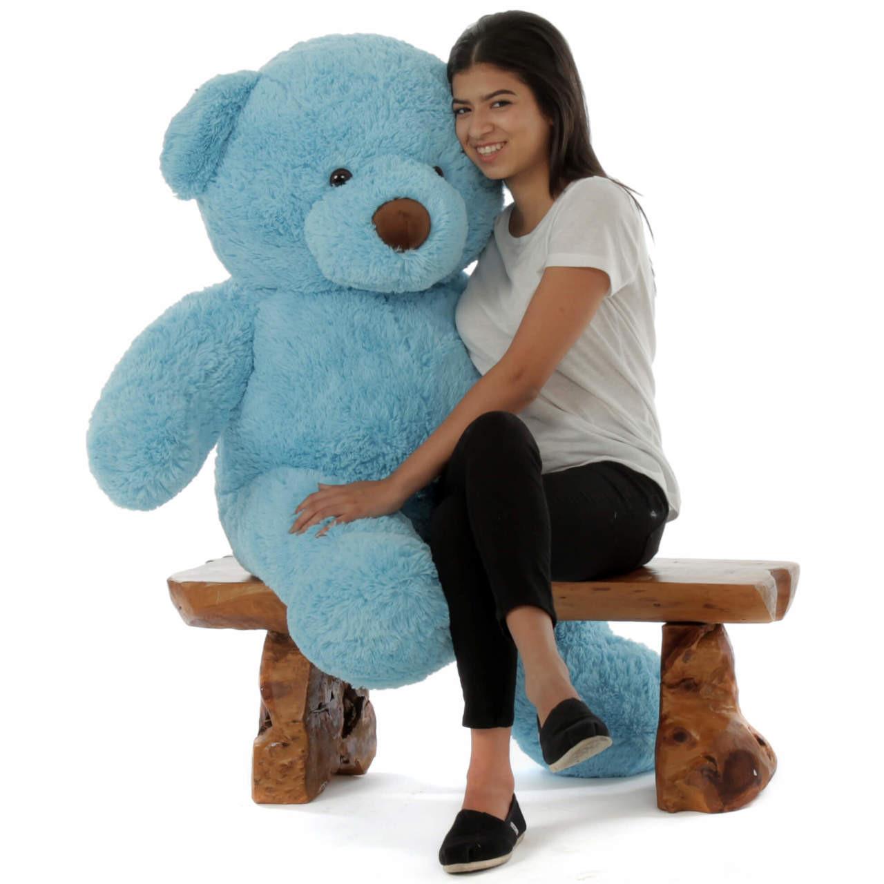 efb06f75a9ea Sammy Chubs Extra Plump Sky Blue Big Stuffed Teddy Bear 4 Foot
