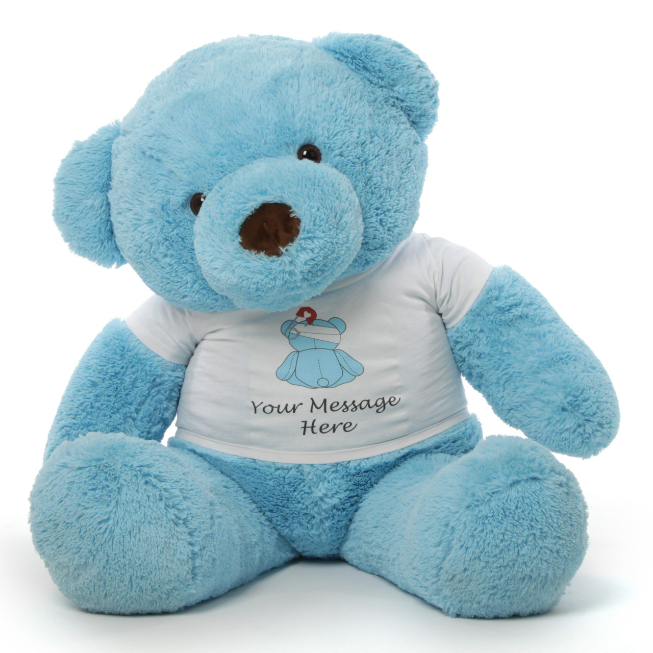 4 ft. Giant Sky BlueTeddy bear with your personalized 'Feel Better' message