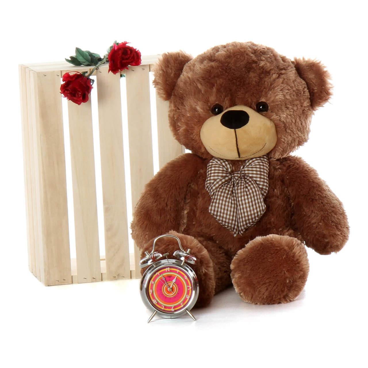 Oversized Mocha Brown Teddy Bear Sunny Cuddles 30in