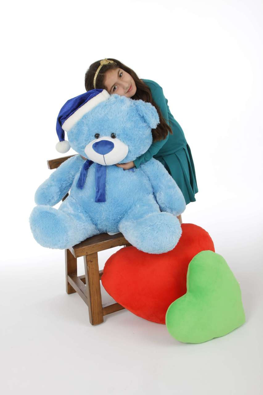 Blue Santa Hat Christmas Teddy Bear