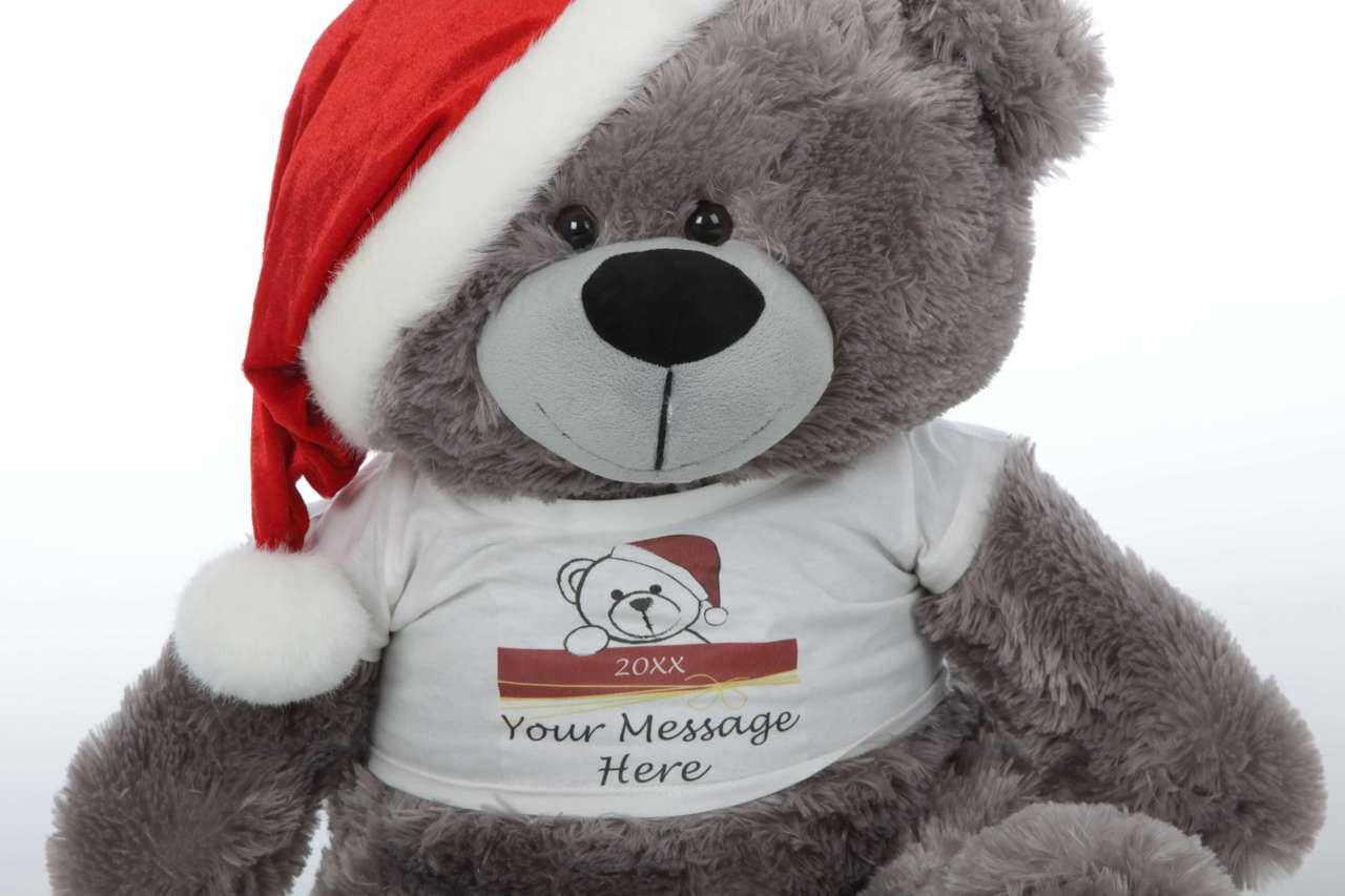 Diamond Shags Personalized Christmas Teddy Bear in Santa Hat 27in