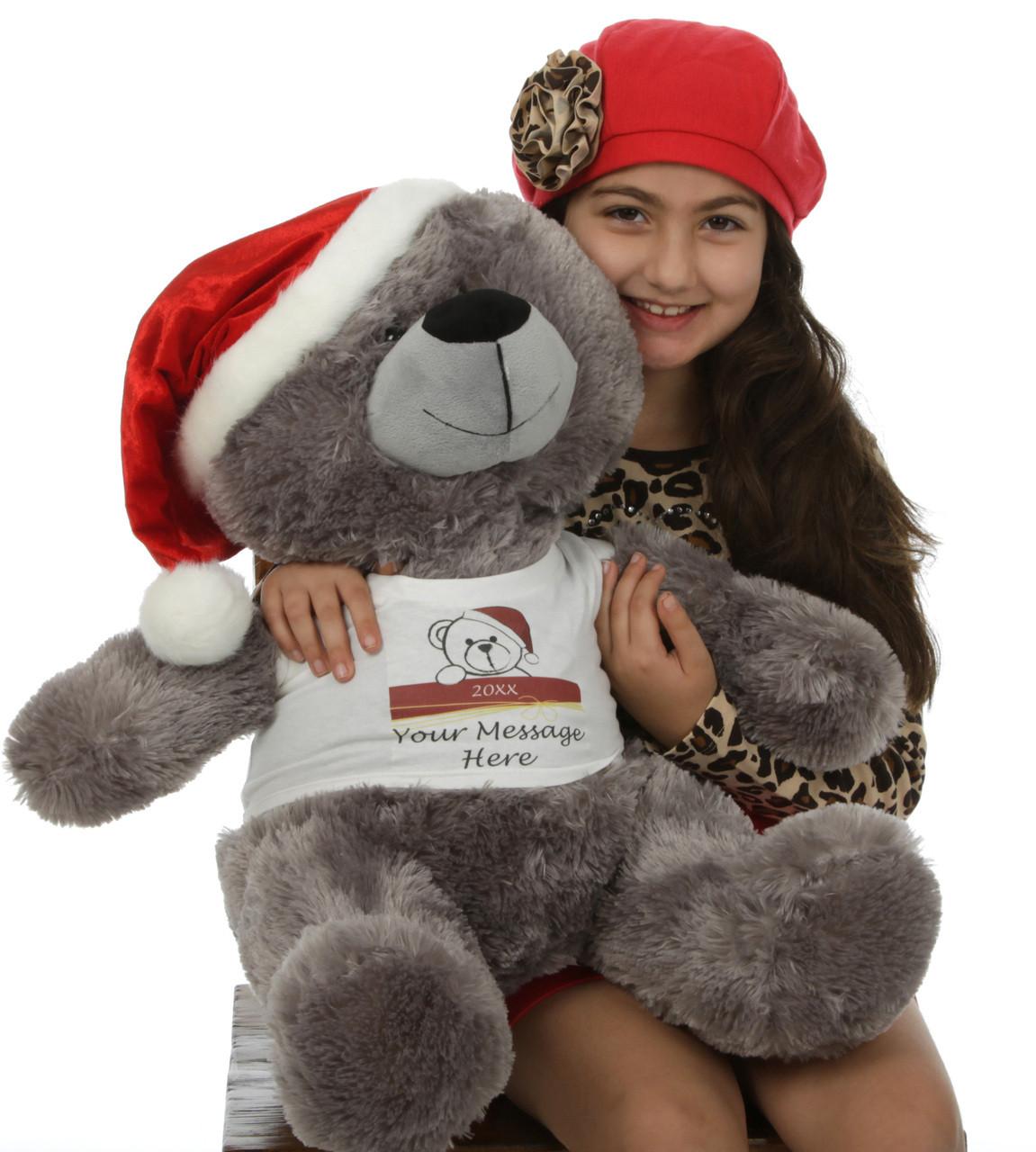 27in Diamond Shags Personalized Christmas Teddy Bear in Santa Hat