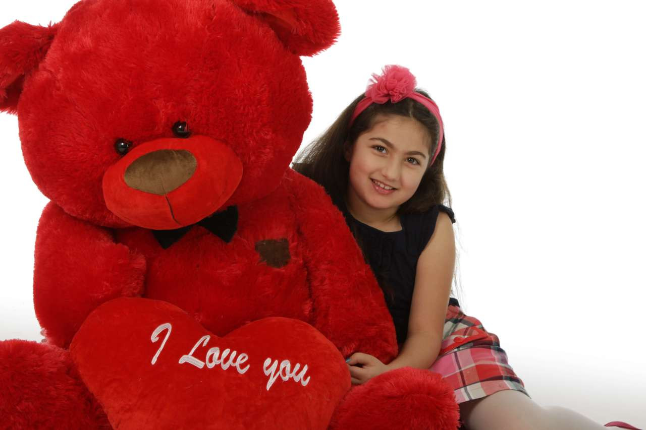 48in Red Valentine's Day Teddy Bear Randy Shags (close up)