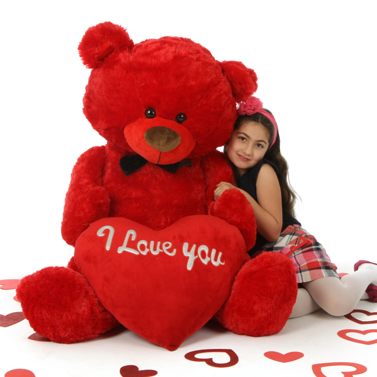 """52in Huge Red Valentine's Day Teddy Bear with """"I Love You"""" Heart Randy Shags"""