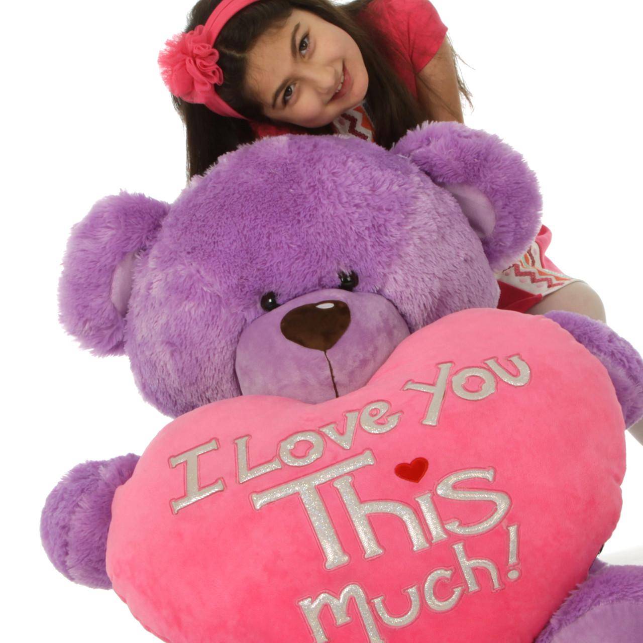 3 ft Purple Valentine's Day Teddy Bear Sewsie Big Love (close up)