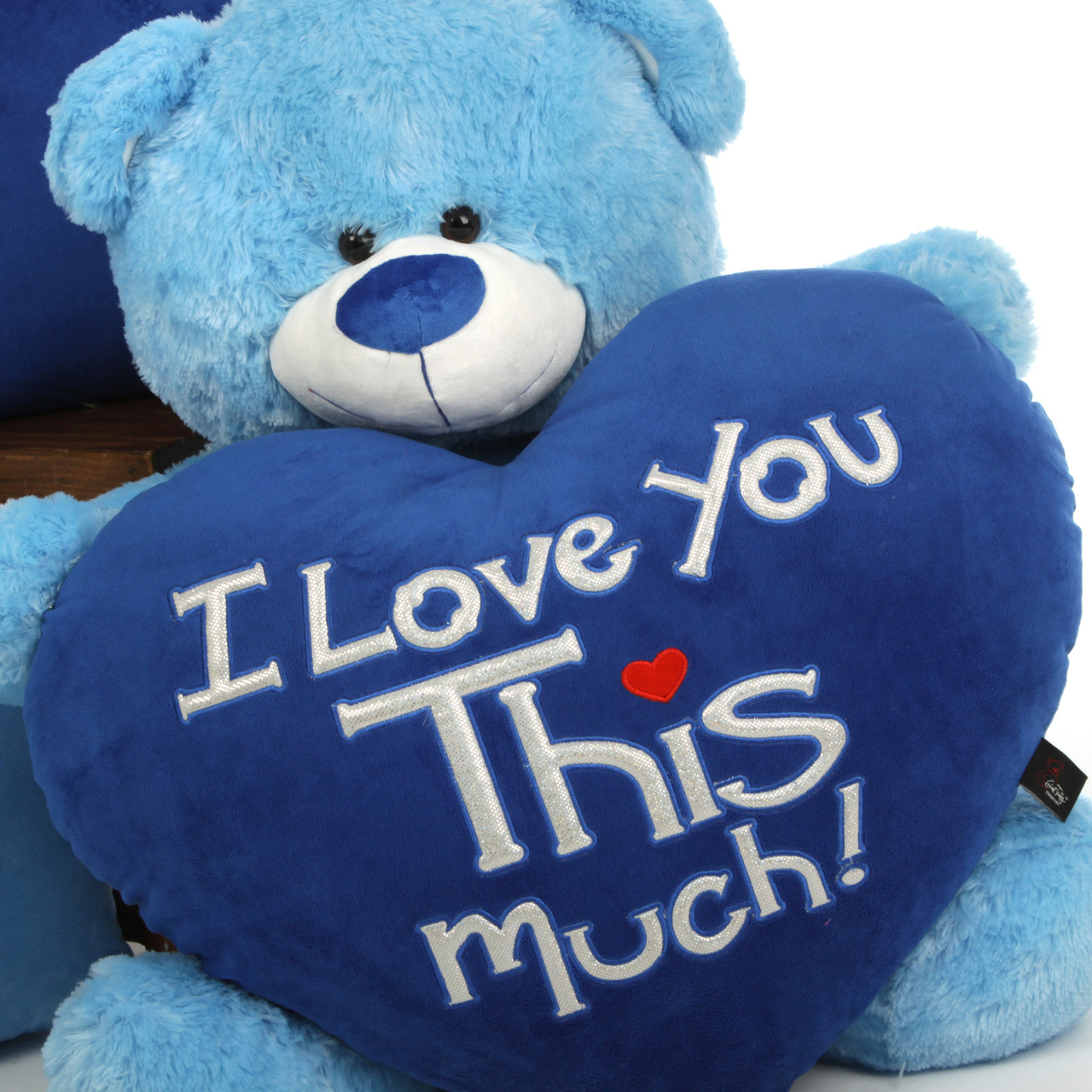 "Marty Shags ""I Love You This Much!"" royal blue plush heart – 35in"