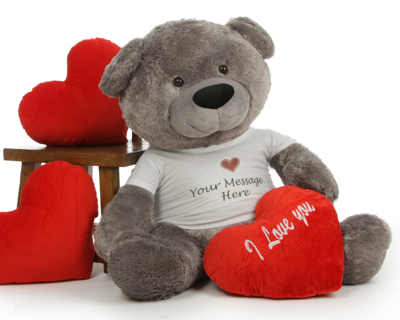Diamond Shags Personalized Valentine's Day Teddy Bear with 'I Love You' Heart Pillow -
