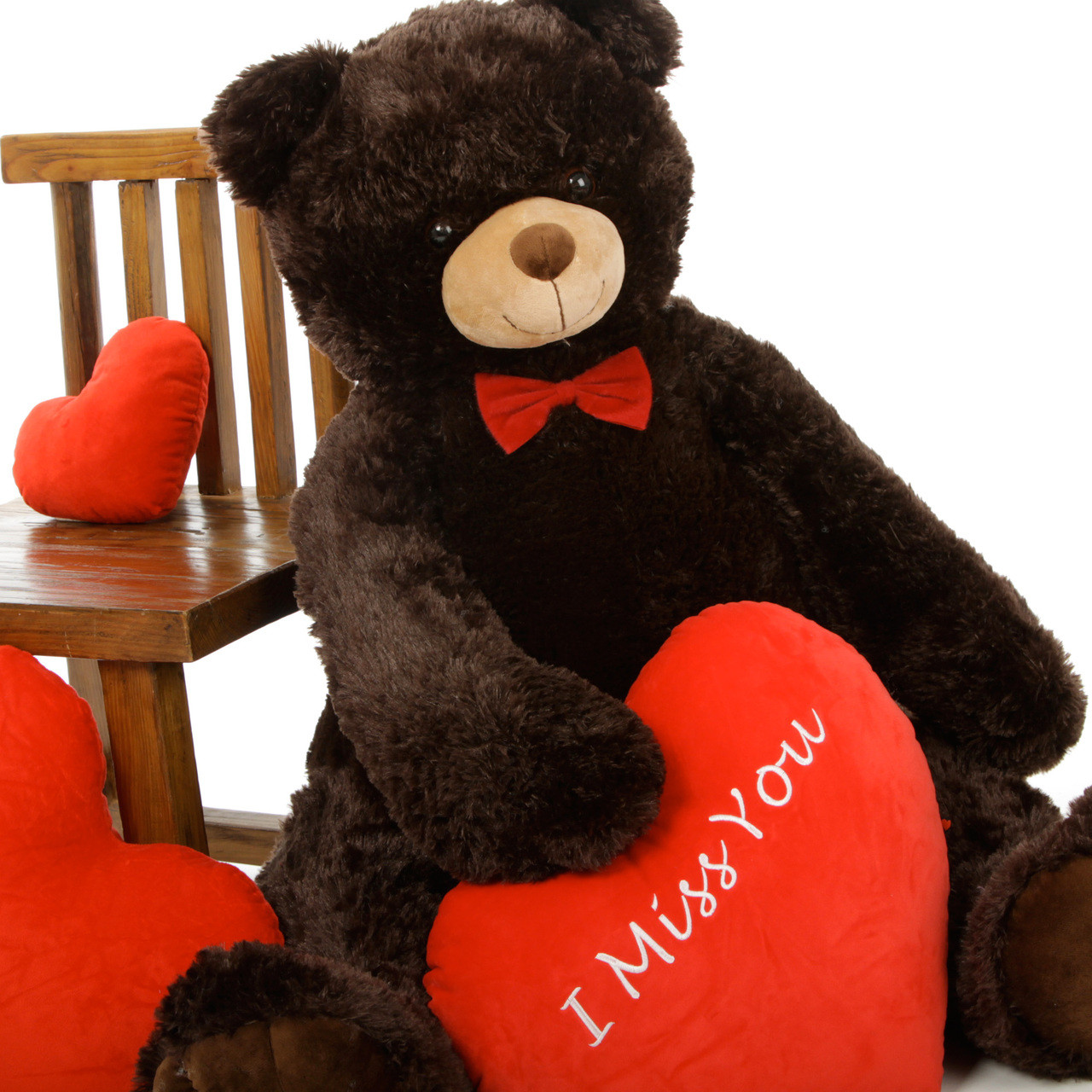 42in Chocolate Baby Tubs Teddy Bear with Red I Miss You Heart