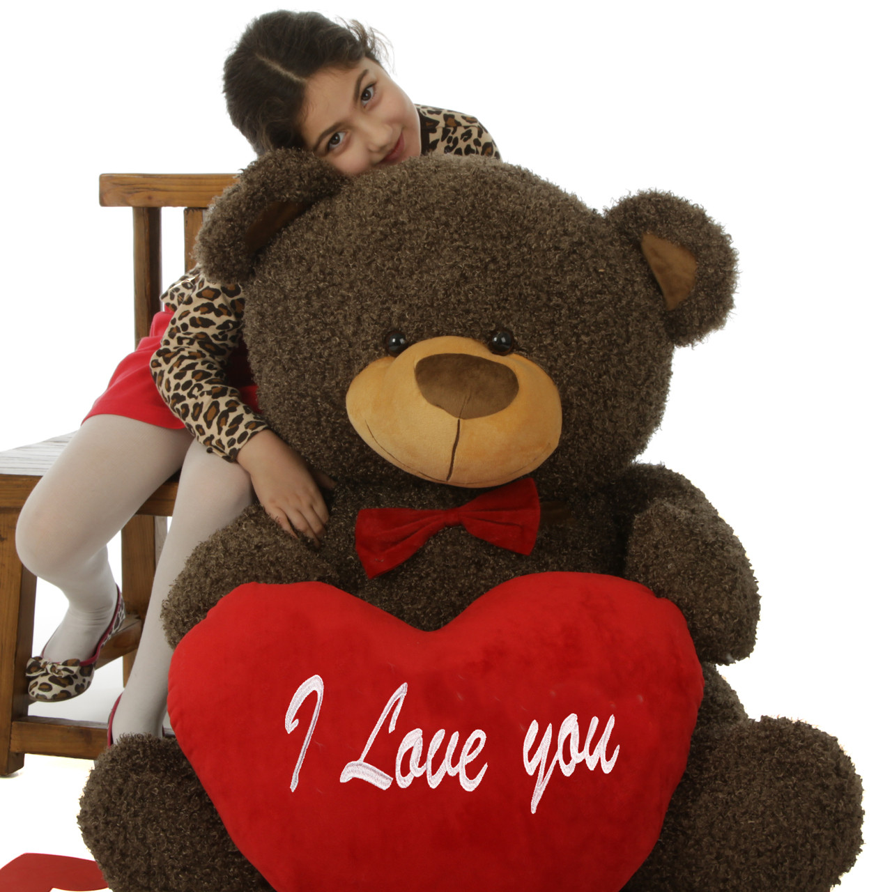 """45in Huge Teddy Bear Binky Fluffy Shags with red """"I Love you"""" heart and red bowtie"""