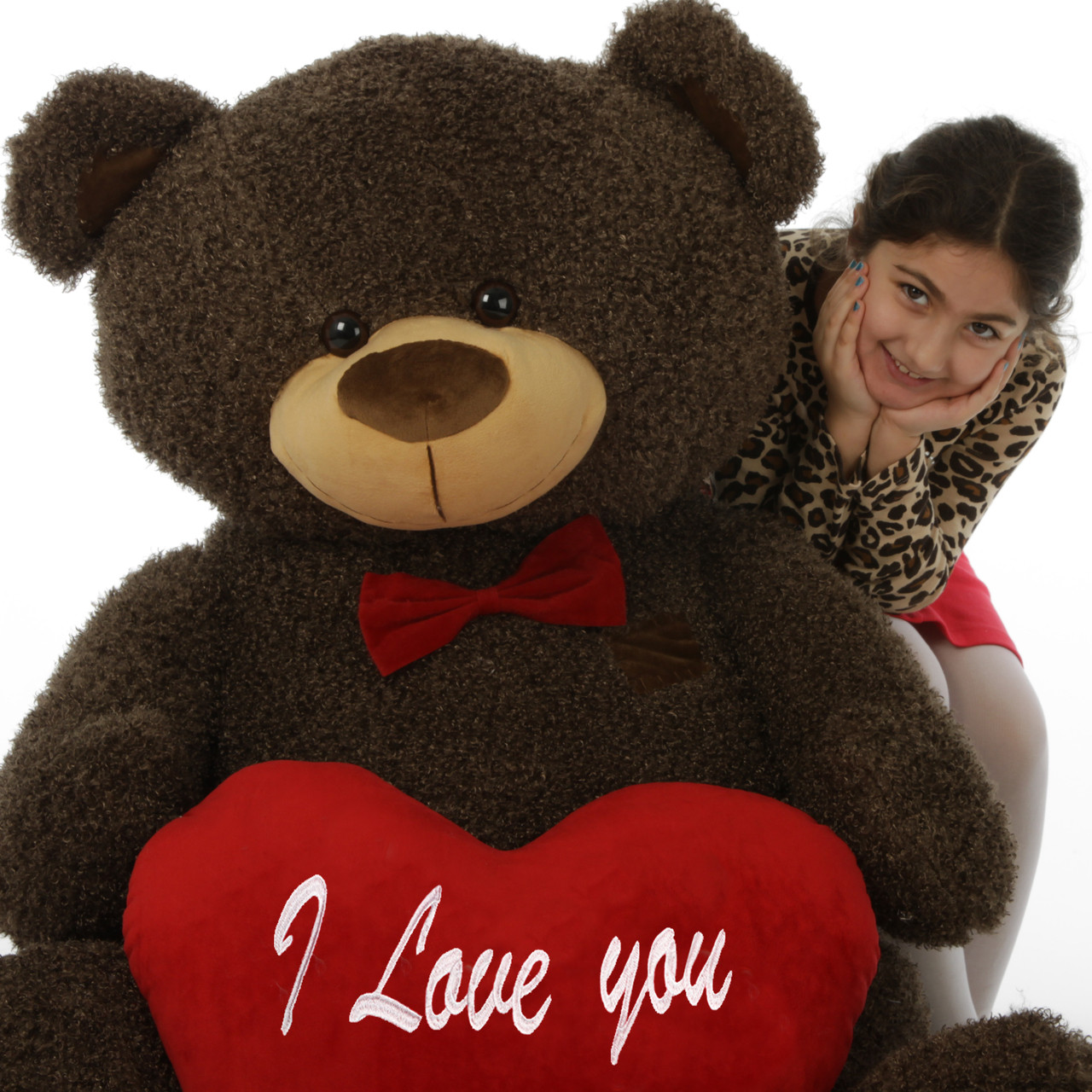 """52in Life Size Teddy Bear Binky Fluffy Shags with red """"I Love you"""" heart and red bowtie"""