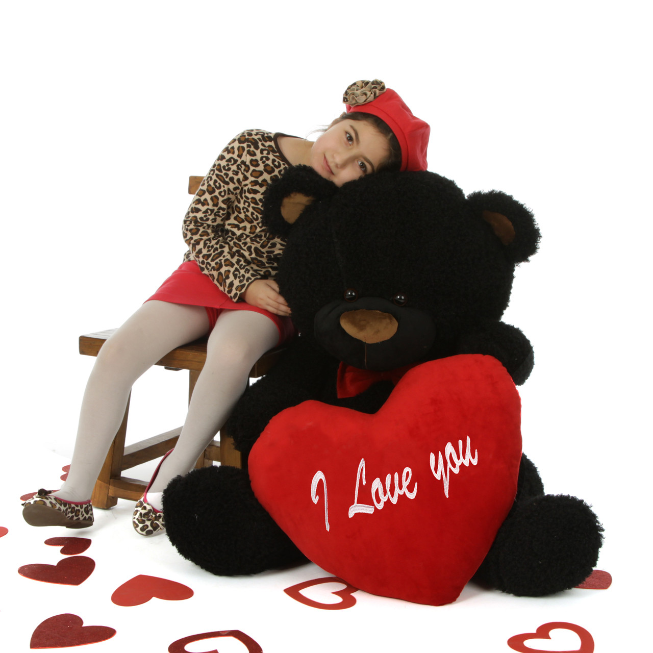 "55in Life Size Black Teddy Bear Ricardo Fluffy Shags with red ""I Love you"" heart and red bowtie"