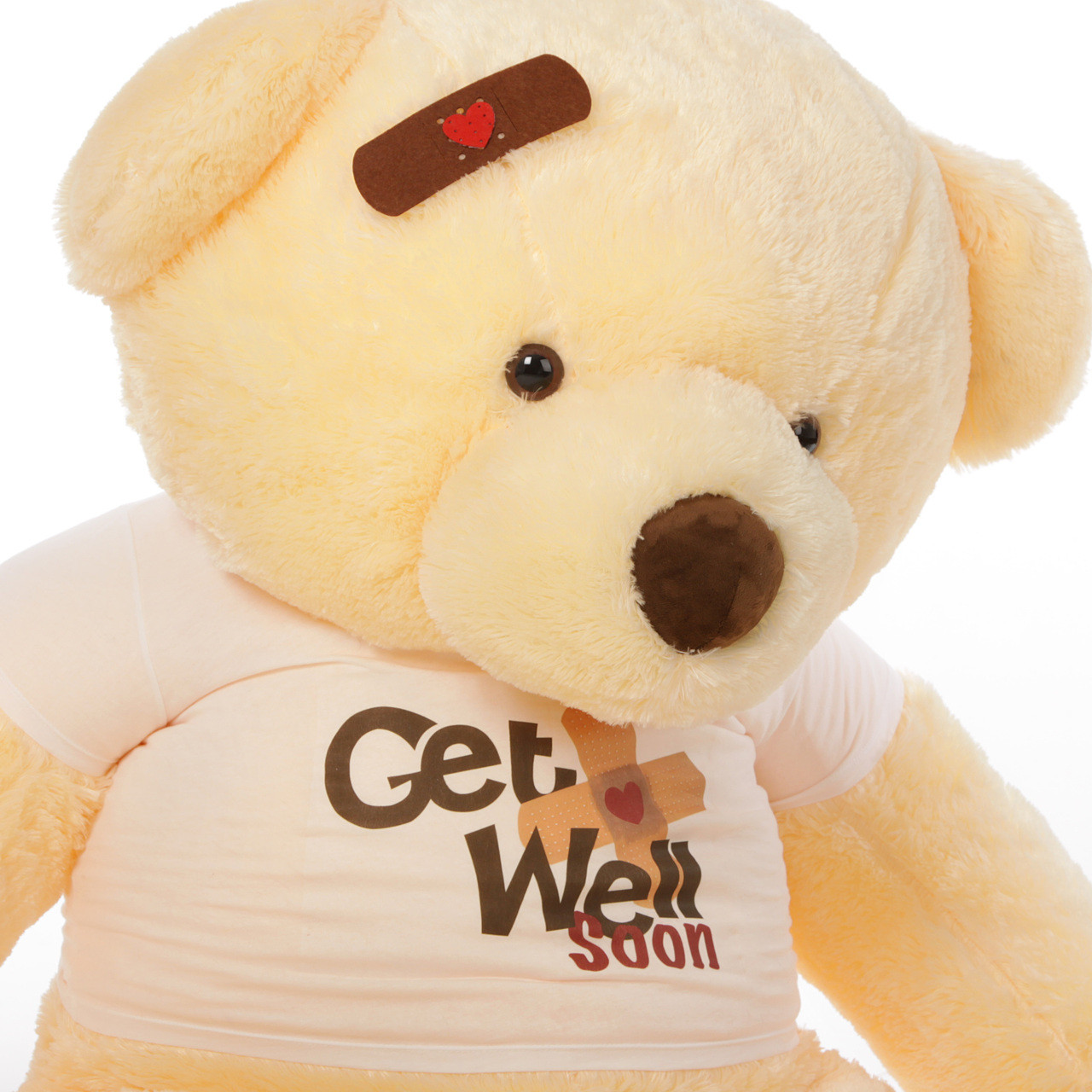 5ft Get Well Soon Vanilla teddy bear , Smiley Chubs (Close Up)