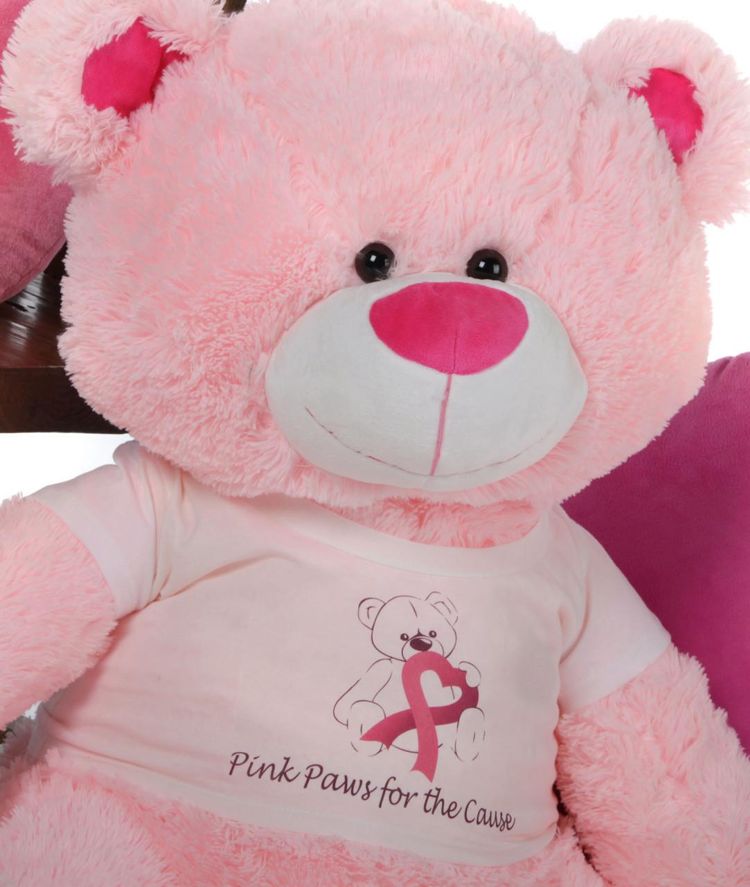 "Giant Pink Teddy Bear Lulu Shags says ""Think Pink""!"